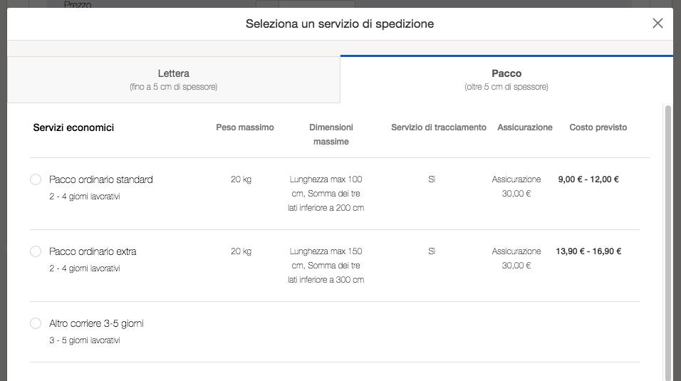 eBay suggerimenti spedizioni ai